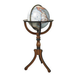 """Library Globe - The library globe measures 19 x 19 x 37.75"""". No Renaissance library, reception room, or merchant's office was complete without a large globe on a stand. Mapmakers and globe publishers issued new globes every year, keeping clients up to date on the latest discoveries and explorations. New trade routes, new ports of call... even new continents! Our 12.5"""" globe with floor stand is the classical form used over the centuries."""