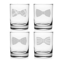 Susquehanna Glass - Bowties Rocks Glass, 14oz, S/4 - Each 14 ounce tumbler is sand etched with a different bowtie design. Dishwasher safe. Sold as a set of four. Made and decorated in the USA.