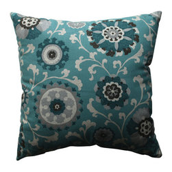 Pillow Perfect - Suzani Aqua, Grey, Off-White Thorw Pillow - - Pillow Perfect Suzani Teal 18-inch Throw Pillow  - Sewn Seam Closure  - Spot Clean Only  - Finish/Color: Aqua/Grey/Off-White  - Product Width: 18  - Product Depth: 18  - Product Height: 5  - Product Weight: 1.5  - Material Textile: 100% Cotton  - Material Fill: 100% Recycled Virgin Polyester Fill Pillow Perfect - 512709