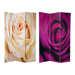Oriental Furniture - 6 ft. Tall Double Sided Roses Room Divider - This practical and beautiful decorative accent includes a powerful close up photo of a single white rose on the front, a violet colored rose on the back. At six feet tall, the detail is remarkable, providing a lightweight, opaque, and effective privacy screen room divider, with the exceptional beauty of one of natures most cherished miracles.