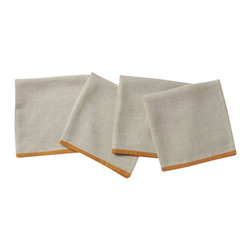 """Coyuchi - Color Border Napkin Set 20""""x20"""" Tangerine - Natural linen edged with a single stroke of color makes these napkins the perfect companion for so many table linens, including our Bold Embroidered runner and placemat."""