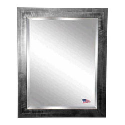 Rayne Mirrors - American Made Black Smoke Beveled Wall Mirror - Add visual interest with this unique shiny black frame with a gray brushed grain design.  Mirror includes a 1 inch beveled edge for a polished finish.  Rayne's American Made standard of quality includes; metal reinforced frame corner  support, both vertical and horizontal hanging hardware installed and a manufacturers warranty.