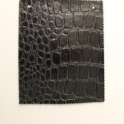 """Croco 2709 Glitter Black Faux Leather for Upholstery and Interior Design by FFC - Croco 2709  """"Faux"""" Leather ."""