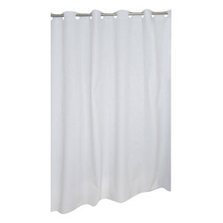 """EZ-ON PEVA Shower Curtain in White - """"Ez On"""" EVA shower curtain with built in shower curtain hooks:  size 70"""" wide x 72"""" long; color White. Make installing or removing your shower curtain nuisance free with our EZ-ON PEVA Shower Curtain (standard size 70'' wide x 72'' long). Using patented Hookless technology, our EZ-ON curtains come with built in flat top rings that simply snap on to your existing shower curtain rod--pesky hooks no longer necessary. Additionally, this curtains heavy (6 gauge) PEVA material wipes clean like a vinyl but lacks both PVC and the chlorine tending to give vinyl curtains an unseemly chemical smell. PEVA is also inherently resistant to mildew and mold. This water repellant curtain does not require a separate liner and serves nicely as a nuisance-free liner itself. Here in White, this style curtain is available in frosty clear, ivory, or super clear.  Wipe clean with damp sponge with warm soapy cleaning solution"""