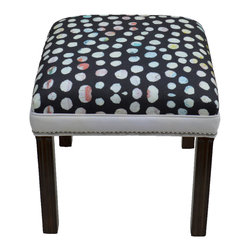 "Carrier Collective - ""Midnight Snow"" Ottoman - Meet ""MidnightSnow"".  Designed out of my love for polkadots."