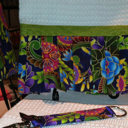 Designer Towel - Beautiful White Waffle Weave Fabric with and Added Purple Paisley Pleated Skirt and a Touch of Green! Just Beautiful!
