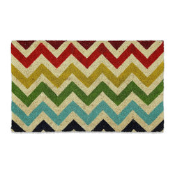Mohawk Home Chevron Coir Doormat - Bright colors and chevron — could it be any more welcoming? This mat is a great statement at your front door.