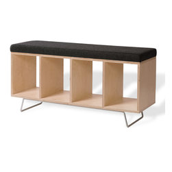"OFFI - Bench Box With Pad And Legs Upholstery - Designed by OFFI. Inside dimensions of each box: 10""W x 15""D x 13.25""H."