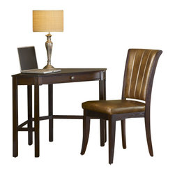Hillsdale Furniture - Hillsdale Solano Corner Desk with Grand Bay Chair in Cherry - Need a space to pay bills, do homework, or work on your laptop, but you don't have the room? Hillsdale Furniture's Solano desk is the perfect solution for your living room, kitchen, bedroom or den. Utilizing a small corner of your home, this desk fits unobtrusively into your space to create an ideal small workspace. Available in a rich oak or deep cherry finish, the Solano desk doubles as a lamp table or display table. Composed of solids and wood composites. Some assembly required.
