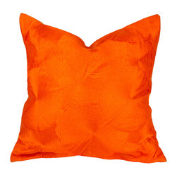 Deepali / De-cor - Large Chakra Silk Pillow, Orange - Beautiful silk circle embroidered on the front and solid silk back.