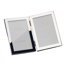 Addison Ross - Double Portrait Silver Plated Frame 4x6 - Flocked/velvety back with easy access slide in back.  Can be placed on furniture in a portrait format.