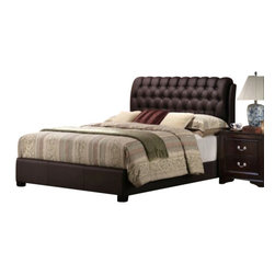 "Casa Blanca - 4-Piece Nicole Collection Queen Espresso Finish Wood Sleigh Bed Headboard - 4-Piece Nicole collection queen espresso finish wood sleigh bed headboard with tufted headboard. This set includes the queen bed frame set, one nightstand, Dresser and Mirror. bed measures 88"" x 64"" x 49"" H. Nightstand measures 25"" x 17"" x 24"" H. Dresser measures 60"" x 17"" x 36"" H. Mirror measures 38"" x 2"" x 39"". Some assembly may be required. Optional chest available separately at additional cost and measures 34"" x 17"" x 48"" H."