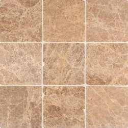 """Marbleville - Emperador Light 4"""" x 4""""  Tumbled Marble Floor and Wall Tile - Premium Grade Emperador Light 4"""" x 4"""" Tumbled is a splendid Tile to add to your decor. Its aesthetically pleasing look can add great value to any ambience. This Mosaic Tile is made from selected natural stone material. The tile is manufactured to high standard, each tile is hand selected to ensure quality. It is perfect for any interior projects such as kitchen backsplash, bathroom flooring, shower surround, dining room, entryway, corridor, balcony, spa, pool, etc."""