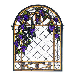 Meyda Tiffany - Meyda Tiffany Grape Diamond Trellis Tiffany Window X-72383 - This traditional styled Meyda Tiffany diamond trellis Tiffany window features hanging grape detailing that give it an elegant vineyard feel. The bold shades are purple are accentuated by the clean white tones of the backdrop. Soft, light browns and leafy greens complete the trellis look.