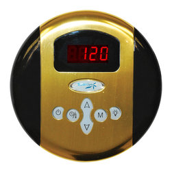 Spa World Corp - Steam Spa Programmable Control Panel with Time and Temperature, Polished Brass - The Steam Spa control panel is the primary input device for any Steam Spa steam generator. With its large LCD display and simple to use interface the control panel allows access to room temperature controls and time setting options for your generator. With its stylish design it will match with most any bathroom style or decor adding to the luxurious sauna atmosphere. Also available is our dual control system which allows for even more flexibility with installation setups and can allow for inside and outside control over the steam generator. Take control of your ideal sauna experience with this stylish control panel and create the steam sauna experience that�s perfect for you.