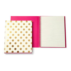 Kate Spade New York Spiral Notebook - Gold Dots - Semi concealed spiral notebook from kate spade new york. 112 lined, ivory colored pages. Measures: 8.25''h x 6''