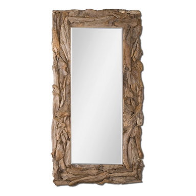 Uttermost - Natural Teak Root Mirror - Lean this stately mirror up against your wall for a casual, hip look. Framed in unfinished, natural teak root gives it a rough, rustic appearance. It will reflect your room in its generous 78 inches, so let it bring light and openness to your space.