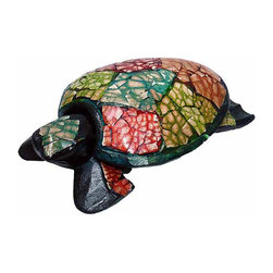 African Artist - Turtle Handcrafted Wooden Multi Color Eggshell Design Decorating Accent - Hand carved and hand painted wooden turtle sculpture.