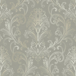 Ballard Designs - Linear Damask Wallpaper Dove Gray/Pearl Double Roll - Double roll. Pre-pasted. Washable. Strippable. The graceful and delicate acanthus leaf motif of this transitional wallpaper is artistically sketched in outline filigree detail creating an intricate and softly framed damask that is light, airy and elegant. Linear Damask Wallpaper features: . . . .