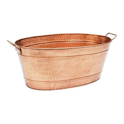 Achla - Large Oval Steel Tub - Old-fashioned tubs ubiquitous on every farm because they have a thousand and one uses. Reminiscent of dairy cows and general stores. Give even the most urban garden a rustic country charm. Fill with ice for chilling beverages in the summer. Use to hold firewood in the winter. Grow a container vegetable garden. Drainage holes should be drilled for direct planting. Two side handles. Copper Plated Finish. Water sealed. Construction Material: Steel. No Assembly Required. 15 in. W x 30.5 in. D x 9.5 in. H (10 lbs.)