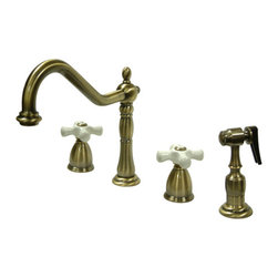 "Kingston Brass - 8"" Center Kitchen Faucet with Brass Sprayer - Victorian style Two Handle Deck Mount, 4 hole Sink application, 8"" Widespread, Solid Brass Side Spray, Fabricated from solid brass material for durability and reliability, Premium color finish resist tarnishing and corrosion, 360 degree turn swivel spout, 1/4 turn On/Off water control mechanism, 1/2"" - 14 NPS male threaded inlets, Duraseal washerless valve, 2.2 GPM (8.3 LPM) Max at 60 PSI, Integrated removable aerator, 8-1/4"" spout reach from faucet body, 9-1/4"" overall height, Ten Year Limited Warranty to the original consumer to be free from defects in material and finish.; Brass Sprayer Included; 1/4 Turn Washerless Cartridge; Porcelain Cross Handle; Vintage Brass Finish; 4 Holes Installation with a 8-1/4"" spout reach; Material: Brass; Finish: Vintage Brass Finish; Collection: Heritage"