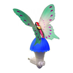 "Other - Kids Butterfly Blue Fiber Optic LED Night Light - Enjoy the elegant beauty of an illuminated butterfly with this charming and compact colorful plug-in LED night light. A white finish base holds the butterfly with blue fiber optic strands built into the wings to create a mesmerizing illumination throughout. Operated with an on/off rocker switch and lit by long-lasting LEDs that never need replacing. Elegant plug-in butterfly novelty night light. Bright multicolor finish with blue fiber optic base. White plastic plug. On/off rocker switch. Includes a 0.2 watt integrated LED array. 7"" high. 4 1/2"" wide. 3"" deep.   Elegant plug-in butterfly novelty night light.  Bright multicolor finish with blue fiber optic base.  White plastic plug.  On/off rocker switch.  Includes a 0.2 watt integrated LED array.  7"" high.  4 1/2"" wide.  3"" deep."