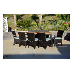 Arbor 9-Piece Modern Patio Dining Set, Spa Cushions