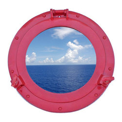 Handcrafted Nautical Decor - Deluxe Class Dark Red Porthole Window 12'' - This Brass Deluxe Class Porthole  Window 12'' - Dark Red  adds sophistication, style, and charm for those     looking  to   enhance       rooms with a nautical theme. This boat    porthole   has a   sturdy,  heavy and      authentic appearance, and is    made of brass and  glass which can easily be hung to grace any  nautical    theme wall.Our nautical   porthole window     makes  a fabulous style    statement in any room  with    its classic  round      frame, nine    metal-like rivets and two  dog  ears.   This marine  porthole mirror        has an 8'diameter and 3'deep when dog-ears are  attached, 1.5'' deep    without dog ears   attached.----Dimensions: 12'Long x 2'Wide x 12'High--NOTE: This is a decorative porthole window (the  center is clear glass which can be left in port hole or taken out).  Mounting hardware not included with purchase.----    Functional porthole window that will open and close by loosening dog ears--    --    Handcrafted from solid brass and hand-painted a dark red finish by our master artisans--    Decorative yet fully functional port hole window decoration--    Realistic nautical decor - modeled after an antique 19th-century ship's porthole--    --    Great porthole wall decor and an instant conversation piece--