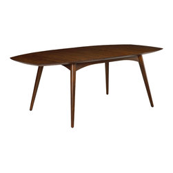"French Heritage - Dian Dining Table With Butterfly Extension - A little curvy and a little leggy, the Dian table and chairs evoke mid-century fascination with aerodynamic form. Detailing on the table edge provides a touch of ethnic style with a clever butterfly self storing leaf. -One 18"" Self Storing Butterfly Leaf"