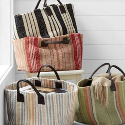 Dash & Albert - Cottage Stripe Cotton Storage Basket by Dash and Albert - Based on the customer-favorite Cottage Stripe Cotton Rug Collection, these storage baskets flaunt jaunty stripes that work in so many decors. Perfect for stowing wood, magazines, children's books and toys - you name it. Includes two leather handles for easy transport. Made in USA. By Dash and Albert.