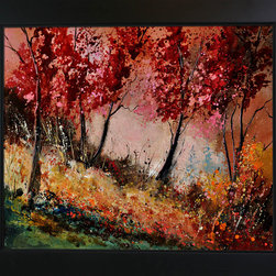 overstockArt.com - Ledent - In the wood 451190 - In the wood 451190 is a canvas print of a modern Ledent painting of a forest in autumn. Originally oil on canvas stretched on a wooden frame size 15,7 x 19,7 inches. Pol Ledent was born in 1952 in Belgium. He came to painting in 1989. He started with watercolor but felt rapidly that oil painting would match his way of being. He is a self-taught painter . Nevertheless he took some drawing lessons in a Belgian academy. After taking part into numerous group exhibitions, some galleries in Belgium proposed to him to exhibit his works. Dinant, Bouillon, Brussels , Paris and Moscow in October 2006.