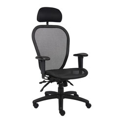 """Boss Chairs - Boss Chairs Boss Multi Function Mesh Chair with Headrest - Ergonomic open mesh back designed to provide exceptional back support. Open mesh seat, ergonomically designed. Adjustable height and width armrests. 3 paddle multi-function tilting mechanism, which allows the seat and back to be independently adjusted and locked in any position. Pneumatic gas lift seat height adjustment. Adjustable tilt tension control. Large 27"""" nylon base. Hooded double wheel casters. With optional headrest."""