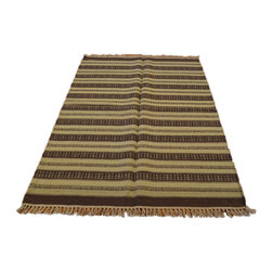Striped 100% Wool Flat Weave Hand Woven Geometric Durie Kilim Area Rug SH6995 - Soumaks & Kilims are prominent Flat Woven Rugs.  Flat Woven Rugs are made by weaving wool onto a foundation of cotton warps on the loom.  The unique trait about these thin rugs is that they're reversible.  Pillows and Blankets can be made from Soumas & Kilims.