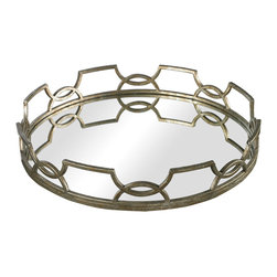 "Sterling Industries - Iron Scroll Mirrored Tray in Antique Silver - 16"" diameter this mirrored tray is set in a free form iron frame and finished in deep silver tones. Perfect for decorative displays and placing decanters on, the tray is striking and functional. A 20"" version is also available."