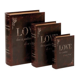Benzara - Wooden and Leather Book Box with Neat Lines - Set of 3 - A perfect gift of love for your partner who is totally into books, this leather book box set is surely going to be cherished for a long time to come. You can also hide a beautiful gift from your side inside the box to surprise your partner. Made of the finest quality wood in a real G like wood shape, this assorted wooden book box set of three is lavished with leather to give it an elegant feel. The set is an ideal gift option that offers durability, strength and a long life with retained appearance for years together. Brushed with dark maroon on the brown color base, this book box set offers a stylish look with a classic feel.