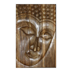 Kammika - Buddha Panel Serene Sust Wood 30x47 inch H w EcoFriendly Brown Stain Natural Wax - This beautiful Buddha Panel Serene 30 inch length x 47 inch height x approximately 6 inch thickness, including the approximately 4 inch protruding nose, Sustainable Monkey Pod wood in Eco Friendly, Natural Brown Stain and Natural Wax Finish Wall Panel presents a Buddha peaceful countenance gazing down from the magnificent, stately resource of wood. Discover the calming effect of Buddha in the Serene stage when you display this wall panel carved from joining panels. Each of the panels has 2 embedded flush mount Keyhole hangers for a protruding screw from your wall. Alternately, you can place on the floor at a slight angle. These panels are carved by craftspeople in Thailand, who spend hours shaping and finishing these wonders of wood. The panels are made of wood grown for the woodcarving industry, and are shipped in sections for ease of shipping and a more manageable hanging weight. The natural Brown stain and natural wax, water resistant, food safe matte finish is translucent; the wood grain detail is highlighted. A water based brown stain darkens the panels, and then is lightly sanded to create highlights; a natural wax is then applied to seal the wood. There is no oily feel and cannot bleed into carpets. We make minimal use of electric hand sanders in the finishing process. All products are dried in solar or propane kilns. No chemicals are used in the process, ever. After each piece is carved, dried, sanded, and rubbed with natural brown stain and natural wax, they are packaged with cartons from recycled cardboard with no plastic or other fillers. The color and grain of your piece of Nature will be unique, and may include small checks or cracks that occur when the wood is dried. Sizes are approximate. Products could have visible marks from tools used, patches from small repairs, knot holes, natural inclusions or holes. There may be various separations or cracks on your piece when it arrives. There may be some slight variation in size, color, texture, and finish.Only listed product included.
