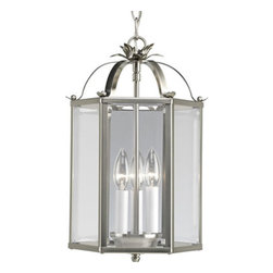 Progress Lighting - Flat Glass Brushed Nickel Three-Light Lantern Pendant with Clear Flat Glass - - Six-sided foyer fixture with clear flat glass. Chain and ceiling mountings both included  - Finish/Color: Brushed Nickel  - Glass: Clear flat glass  - Wire Length: 120-Inch  - Product Width: 9  - Product Height: 15.25  - Product Depth: 9  - Material: Metal and Glass  - Bulb NOT included Progress Lighting - 943645-09
