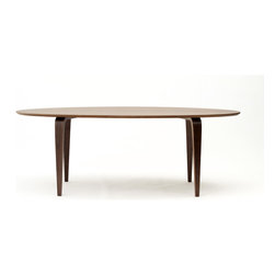 "Cherner - Cherner Oval Table - The Cherner Oval Table, made from molded plywood in the USA, was designed to complement Cherner chairs. Light weight and strong, the Cherner Oval Table's top is 1.125"" thick. Table is 29.5"" H x 84"" L x 38"" W"