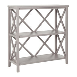 Safavieh - Ralph Bookcase - The Ralph open book case, crafted from pine in a warm gray finish, proves a versatile, multi-functional workhorse. With a light-weight stature and X-shaped back, Ralph's casual styling make it ideal for country and beach settings in rooms throughout the home, even the bath. Minor assembly required.