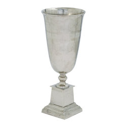 Benzara - Aluminum Vase in Silver with Rustic Appeal and Minimal Details - A perfect way to enhance your traditionally set home interiors is to choose the right range of accessories. This authentic Aluminum vase makes a great choice of accessory. Appealing to the core with minimal details, this vase is royally dominant and distinctive in style that can make the perfect addition to traditional styled settings. Shaped as an artistic chalice, it is accented by rustic artwork at the bottom part to make it more attention grabbing. The slightly tapered body ensures that the vase does not spread across a wide space and can be placed anywhere occupying lesser amount of space. Its homely style and versatile fashion makes it a wonderful accessory for accentuating living rooms, bedrooms and dining room settings. It flaunts a silver finish that is elegant and pleasing in appearance. It comes with a dimension of 37 in.  H x 15 in.  W x 15 in.  D.