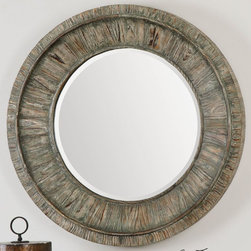 "Uttermost - Gattola Round Mirror - Frame Is Lightly Stained Wood Finished In A Sage Gray Wash With Lighter Gray Accents. Mirror Features A Generous 1 1/4"" Bevel. Uttermost's Mirrors Combine Premium Quality Materials With Unique High-style Design. Overall Dimensions: 3.5""D x 35.875""W x 35.875""H; Mirror/Glass Depth: 0.187""; Mirror/Glass Width: 24""; Mirror/Glass Height: 24"""