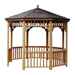 Handy Home - Handy Home San Marino 12 ft. Round Gazebo - 19948-6 - Shop for Gazebos from Hayneedle.com! When you follow the detailed assembly instructions included with the Handy Home San Marino 12 ft. Round Gazebo you'll go from ga-zero to gazebo in a hurry. Built from appealing and durable western cedar this handsome gazebo features spindle railings a metal cap and two finials. You'll be able to enjoy this gazebo for years to come thanks to the cedar's natural ability to resist rot and insects. All pieces of this structure are unfinished allowing you to choose the stain or paint that best suits your tastes. For a more finished appearance try adding the Handy Home San Marino 12 ft. Gazebo Floor or Handy Home Gazebo Bench/Table Kit. About Handy HomeSince 1978 Handy Home has been making it easy and affordable for their customers to add storage sheds gazebos and playhouses to their homes. As North America's largest producer of wooden storage and recreational building kits Handy Home makes durable structures that require no sawing or drilling and can be delivered when and where their customers need them.