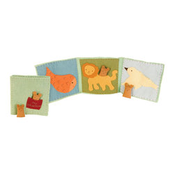 Kata Golda - Mini Stuffed Companion Adventure Book - Two hand-stitched, 3-tall companions live in this wool felt book handmade by Kata Golda. It includes 3 adventure scenes, each with a pocket for the hand-embroidered companion to fit into and become part of the story. The book folds up to 8 x 8.Care: Gently spot wash with cold water by hand. Detergents can cause the wool to fade, so use caution and test in an inconspicuous area first.  Do not place items in the dryer; they will shrink.