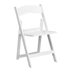 Flash Furniture - Hercules Series 1000 Lb. Capacity White Resin Folding Chair with Slatted Seat - This Hercules Series Folding Chair features a 1000 lb. weight capacity so that you can be assured that it will accommodate any function. From indoor or outdoor weddings to other upscale events, this resin folding chair will never let you down. Featuring a padded vinyl seat, our black folding chair will provide an excellent solution to all your event planning needs.