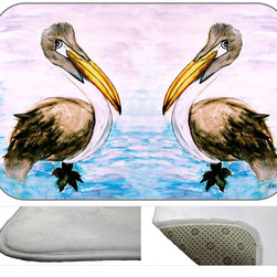 Pelican Twins  Plush Bath Mat, 30X20 - Bath mats from my original art and designs. Super soft plush fabric with a non skid backing. Eco friendly water base dyes that will not fade or alter the texture of the fabric. Washable 100 % polyester and mold resistant. Great for the bath room or anywhere in the home. At 1/2 inch thick our mats are softer and more plush than the typical comfort mats.Your toes will love you.