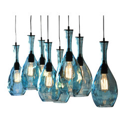 ecofirstart - 8-Light Galleon - Spanish Vase Chandelier - This is an 8-fixture chandelier that's made from repurposed painted blue vases from Spain.This is an 8-fixture chandelier that's made from repurposed painted blue vases from Spain.