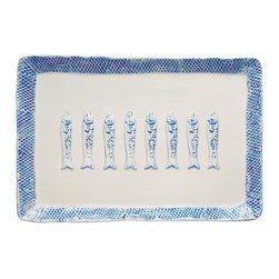 Fish Rectangular Tray - Natural - Signature appetizer trays start with a meaningful design, and when you miss your childhood beach house, long for the peace of a day by the lake, or simply appreciate the fun of a nautical graphic, the piscine icon of the Fish Rectangular Tray is picture-perfect. This Natural colorway complements the uneven edges of the tray for an artisan look in a neutral, blendable color.