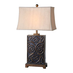 "Uttermost - Uttermost Lavinta Lamp 12 x 19 x 33"", Bronze - Dark bronze wash with raised antiqued gold highlights. The rectangle bell shade is a silken golden fabric with natural slubbing.Designer: David FrischWattage: 150WDimensions: 12"" depth by 19"" width by 33"" heightMaterial: poly/metal"