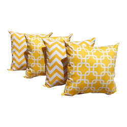 Land of Pillows - Zig Zag Chevron Yellow and Gotcha Corn Yellow Indoor Throw Pillows - Set Of 4 - Give your sofa, day bed or window seat a burst of color and cushion with these yellow and white throw pillows. This set of four stylish pillows includes two with a chic chevron design, and two with an interlocking geometric pattern. All four cotton covers have a solid yellow back, are filled with high quality fiber, and sewn closed. Let the sunshine in by using these pillows to brighten up your decor!