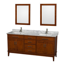 "Wyndham Collection - Hatton 72"" Light Chestnut Double Vanity & White Carrera Marble Top & Square Sink - Bring a feeling of texture and depth to your bath with the gorgeous Hatton vanity series - hand finished in warm shades of Dark or Light Chestnut, with brushed chrome or optional antique bronze accents. A contemporary classic for the most discerning of customers. Available in multiple sizes and finishes."